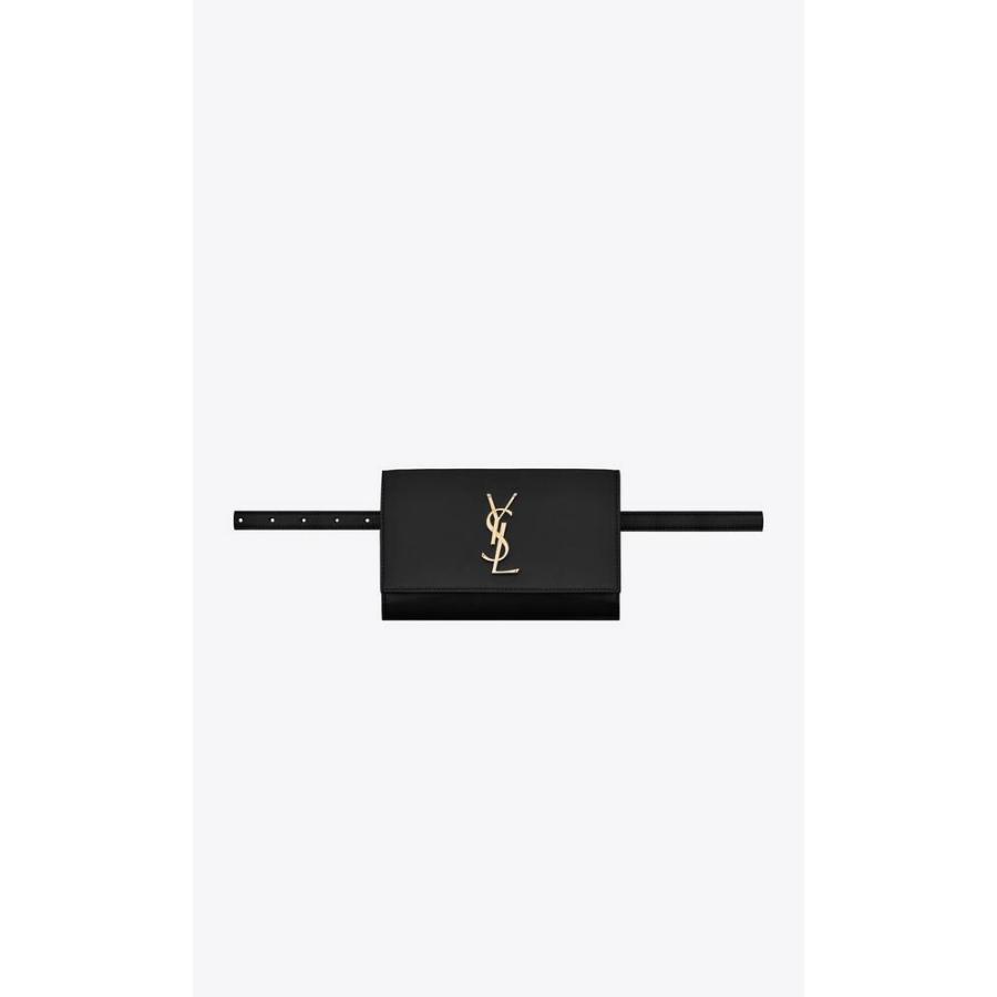 サンローラン SAINT LAURENT バッグ バック ウエストバッグ ウェエストポーチ ベルトバッグ ブラック ゴールド ロゴ カーフスキン レザー サイズ85|precious01|01