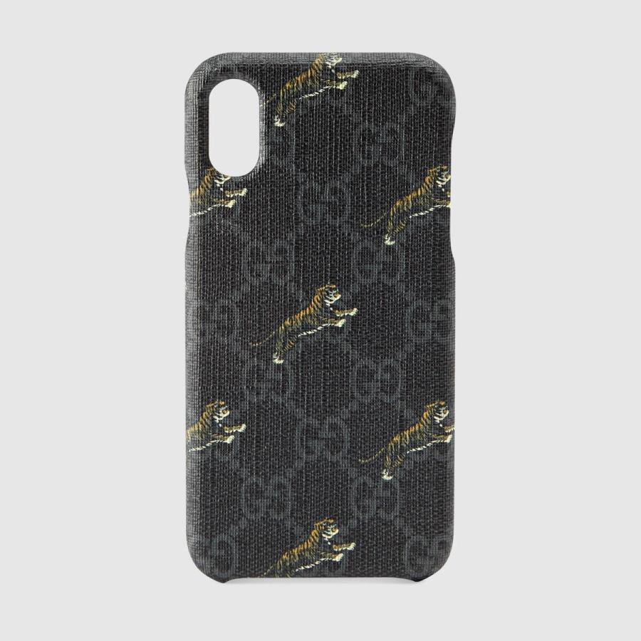 グッチ GUCCI iPhone X iPhoneX アイフォンケース iPhone XS ブラック グレー タイガー プリント キャンバス|precious01|01