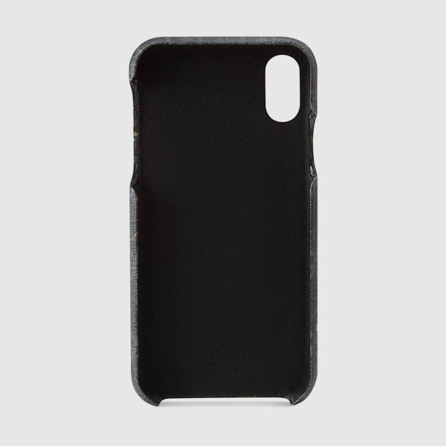 グッチ GUCCI iPhone X iPhoneX アイフォンケース iPhone XS ブラック グレー タイガー プリント キャンバス|precious01|02