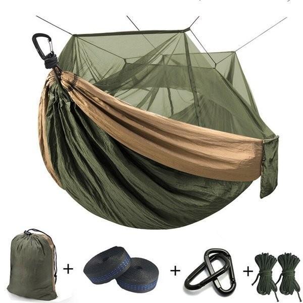 ハンモック 蚊帳 超軽量 パラシュートハンモック 吊るしタイプ 防蚊 屋外 キャンプ テント premiumgarage
