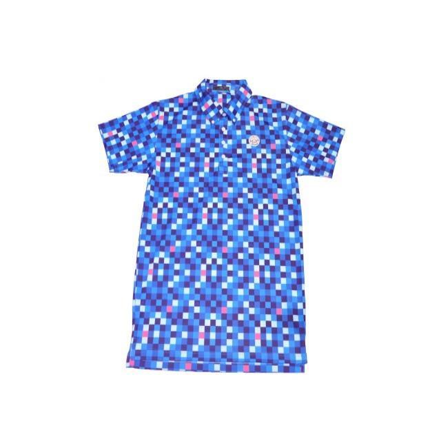 新品 1004 テンオーフォー 107200 グリット柄 ポロシャツ ブルー(M) [0145]