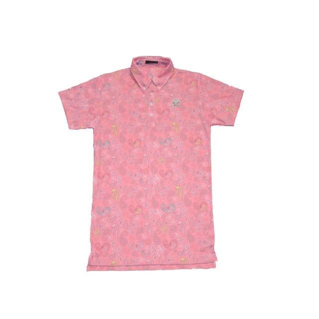 新品 1004 テンオーフォー 107202 Tof paisley ペイズリー柄 ポロシャツ ピンク (XL) [0156]