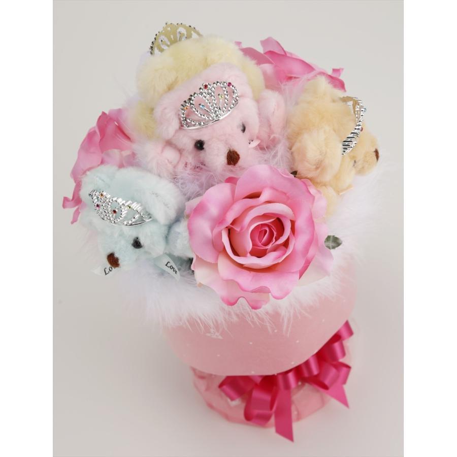 誕生日 結婚式 発表会 記念日 卒業 入学 母の日 クリスマス サプライズ プレゼント くま束 国内製作 送料無料 パステルローズ くま5匹 |presentbear|05