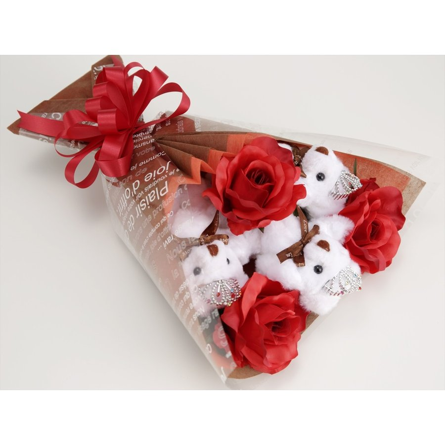 誕生日 結婚式 発表会 記念日 卒業 入学 母の日 クリスマス サプライズ プレゼント くま束 国内製作 送料無料 スカーレット くま3匹  presentbear 03