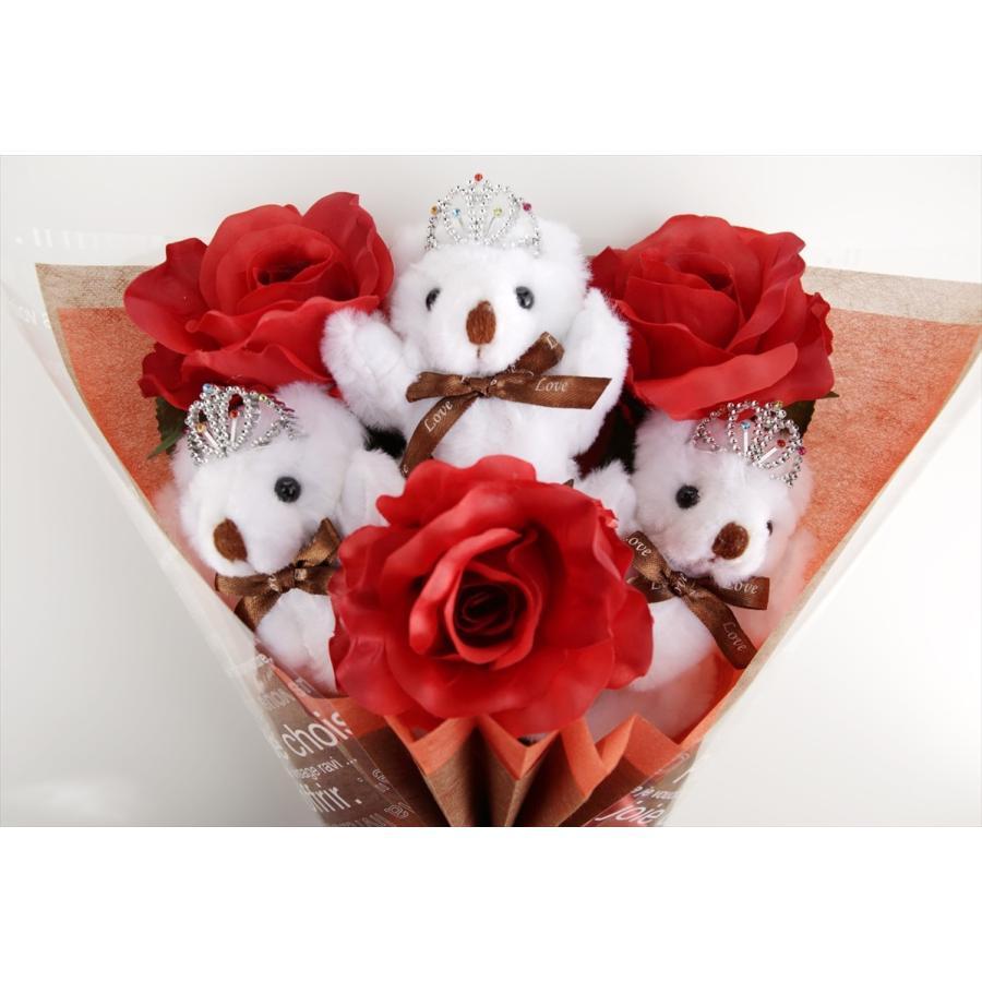 誕生日 結婚式 発表会 記念日 卒業 入学 母の日 クリスマス サプライズ プレゼント くま束 国内製作 送料無料 スカーレット くま3匹  presentbear 04