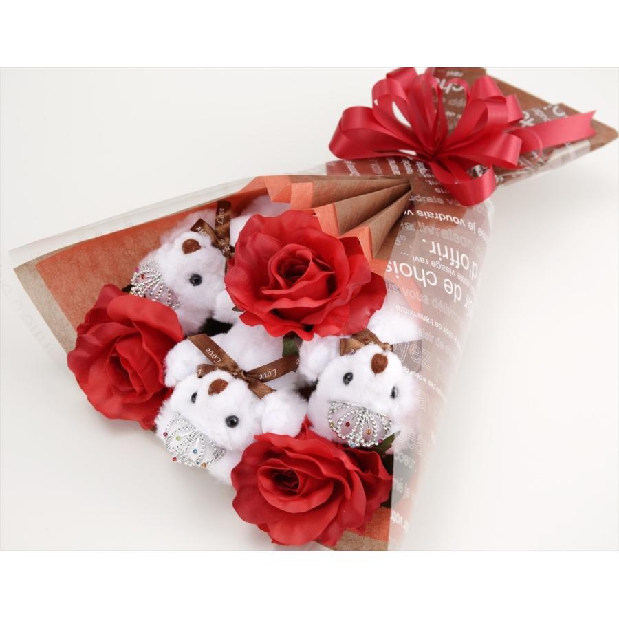 誕生日 結婚式 発表会 記念日 卒業 入学 母の日 クリスマス サプライズ プレゼント くま束 国内製作 送料無料 スカーレット くま3匹  presentbear 05