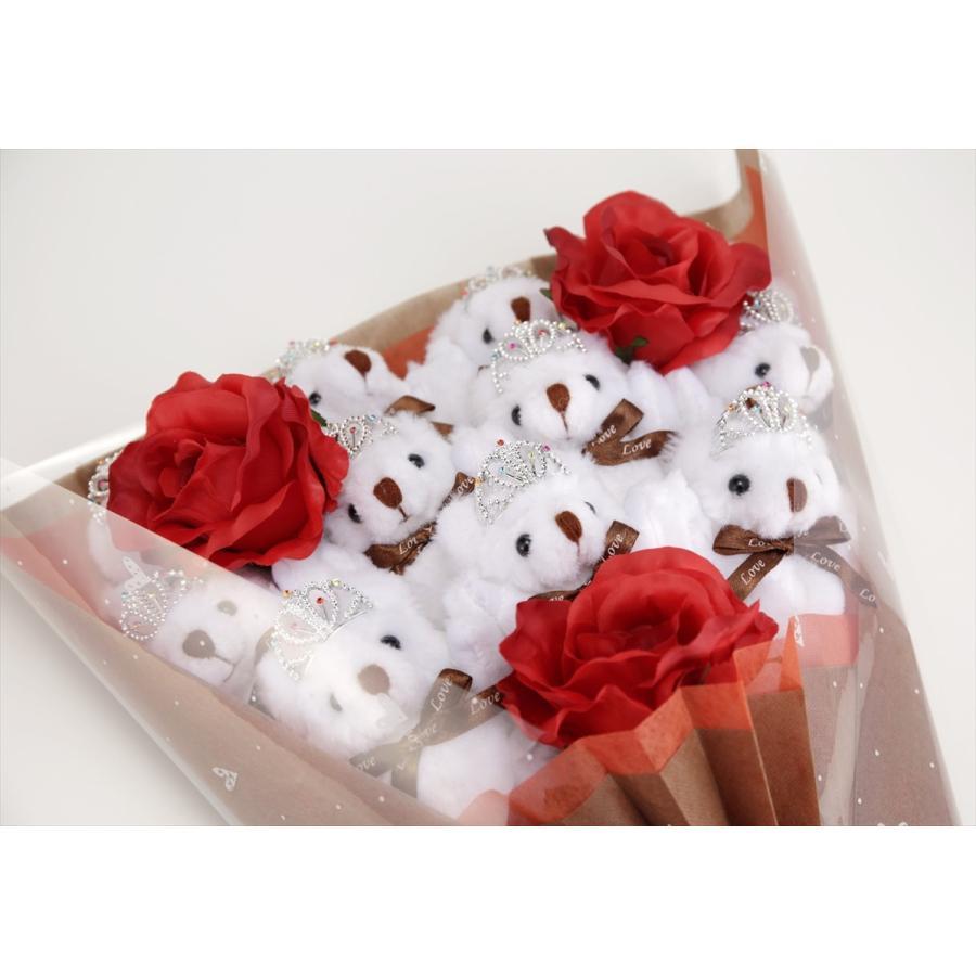 誕生日 結婚式 発表会 記念日 卒業 入学 母の日 クリスマス サプライズ プレゼント くま束 国内製作 送料無料 プリマドンナ くま11匹|presentbear|02