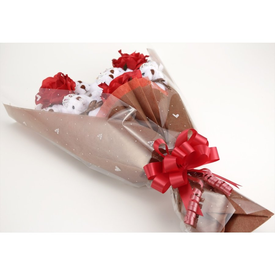 誕生日 結婚式 発表会 記念日 卒業 入学 母の日 クリスマス サプライズ プレゼント くま束 国内製作 送料無料 プリマドンナ くま11匹|presentbear|03