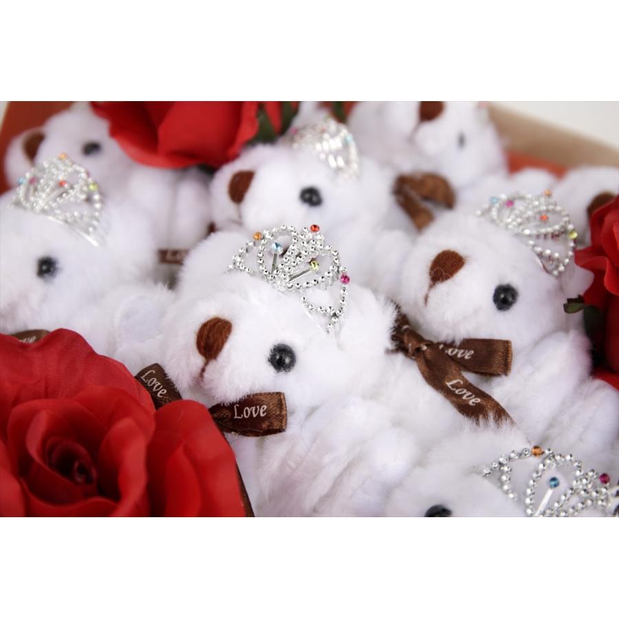 誕生日 結婚式 発表会 記念日 卒業 入学 母の日 クリスマス サプライズ プレゼント くま束 国内製作 送料無料 プリマドンナ くま11匹|presentbear|04
