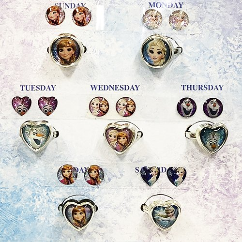 アナと雪の女王 リング&ピアスシール 7コセット 14600a アナ雪 シールイヤリング ディズニー Disney アクセサリー キッズアクセ 輸入品|pretzel|02