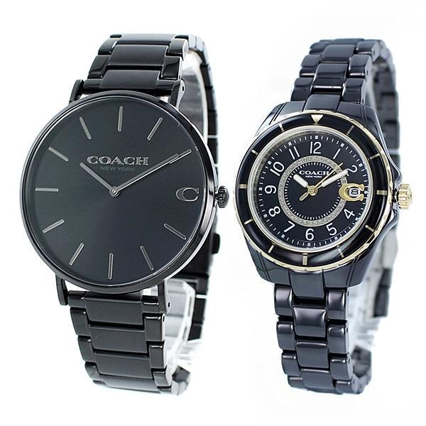 コーチ ペア ウォッチ 腕時計 メンズ レディース プレゼント 夫婦 カップル シンプル 記念日 ブラック ステンレス セラミック