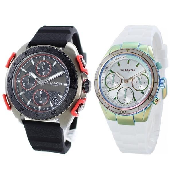 カジュアルギフト おしゃれなペア 夫婦 カップル ギフト ペアウォッチ 腕時計 ブランド コーチ ラバー 虹色