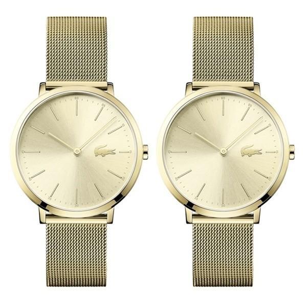 特典付き ラコステ ペアウォッチ 大人 シンプル とけい イエローゴールド メッシュ 同じサイズ おそろい 20010002001000 腕時計