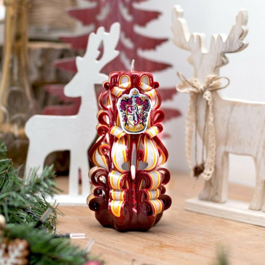 キャンドル アクセサリー ロイヤルキャンドル Harry Potter candle handmade - carved candle with arms of Gryffindor faculty