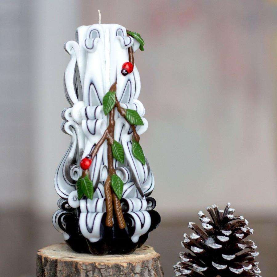 キャンドル アクセサリー ロイヤルキャンドル Carved candle Birch - Rustic candles - Rustic wedding decorations - Xmas gift