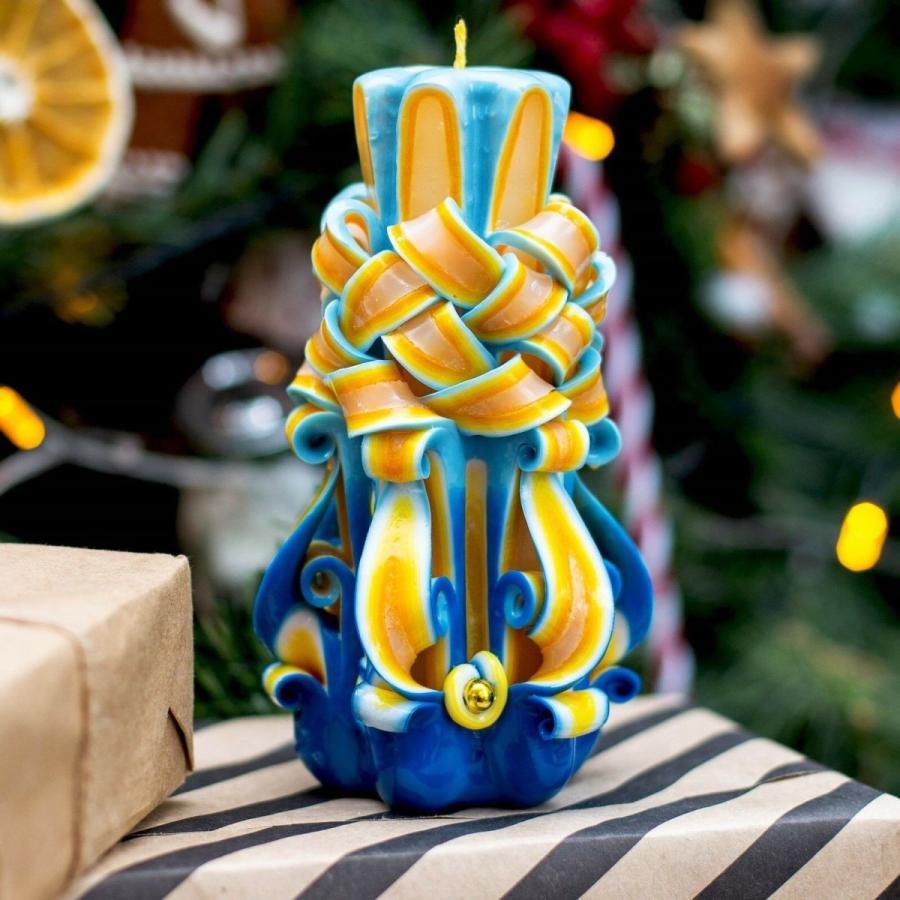 キャンドル アクセサリー ロイヤルキャンドル 青 - 黄 carved candle - paraffin candle - Christmas or Hanukkah candle