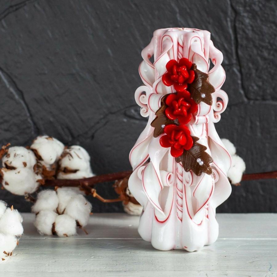 テーブルデコレーション ロイヤルキャンドル 白い candle with rubi flowers - unity candle - wedding candles and decorations