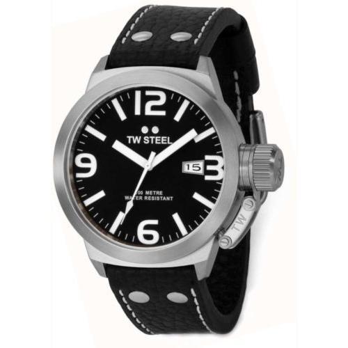 【期間限定お試し価格】 腕時計 メンズ ティダブルスティール TW Steel TW2 Men's Canteen 45mm Black Dial Black Leather Watch, フランスベッド専門販売店 こみち d1aedc4f