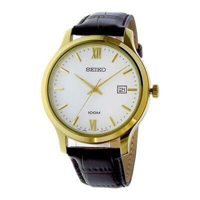 肌触りがいい 腕時計 セイコー メンズ SEIKO MEN'S 41MM BROWN LEATHER BAND STEEL CASE QUARTZ WHITE DIAL WATCH SUR226, 箱職人のアースダンボール dc19d163