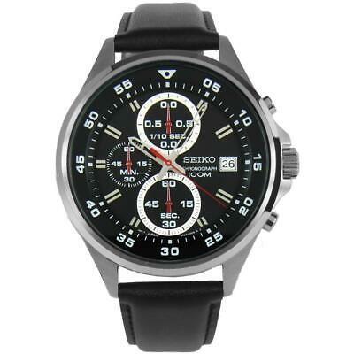 お気に入り 腕時計 セイコー メンズ Seiko Men's 42.8mm Black Leather Band Steel Case Quartz Analog Watch SKS635P1, おのみち発 北前船の贈り物 60b933a4