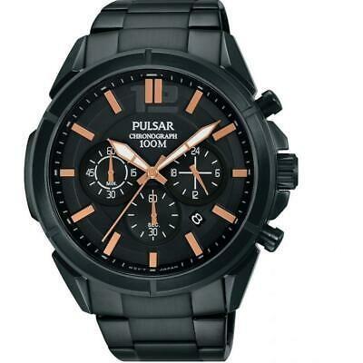 2019年最新入荷 腕時計 パルサー メンズ Pulsar Men's 44mm Black Steel Bracelet & Case Quartz Analog Watch PT3765X1, 夢大陸 c73c87c1