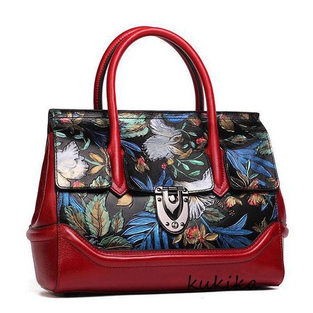 人気が高い  バッグ ハンドバッグ レディース New レディース Luxury Satchel Flowers Genuine leather women