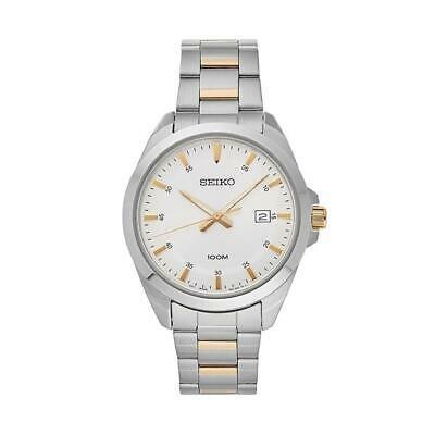定番  腕時計 セイコー メンズ SEIKO MEN'S 42MM TWO TONE STEEL BRACELET STEEL CASE QUARTZ ANALOG WATCH SUR211, オフィスエクスプレス 2eb40198
