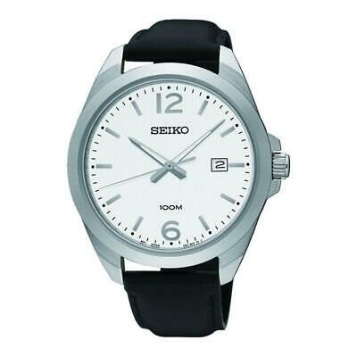 誕生日プレゼント 腕時計 セイコー メンズ Seiko Men's Neo Classic 42mm Leather Band Steel Case Quartz Watch SUR213P1, 尾崎かまぼこ館 435c55cd
