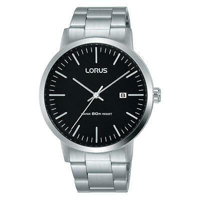 【新品本物】 腕時計 ローラス メンズ Lorus Men's 40mm Steel Bracelet & Case Quartz Black Dial Analog Watch RH989JX9, Ade-jo 14a1ab01