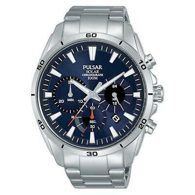 【オープニング大セール】 腕時計 パルサー メンズ Pulsar Men's 43.5mm Steel Bracelet & Case Solar Blue Dial Watch PZ5057X1, 内之浦町 59f09fa3