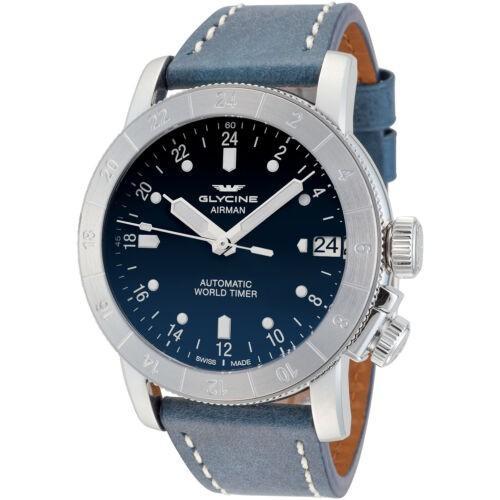 2018セール 腕時計 グリシン メンズ Glycine Men's 3953.181-66.LB8B Airman 46 Automatic Purist 46mm Blue Dial GL0134, アルファヴィータonlineshop 3c013d94