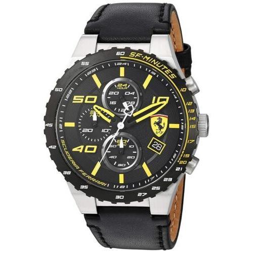 優先配送 腕時計 フェラーリ メンズ Ferrari Men's 830360 Speciale Evo Chronograph 45mm Leather Watch 0830360, Moery afb533fd