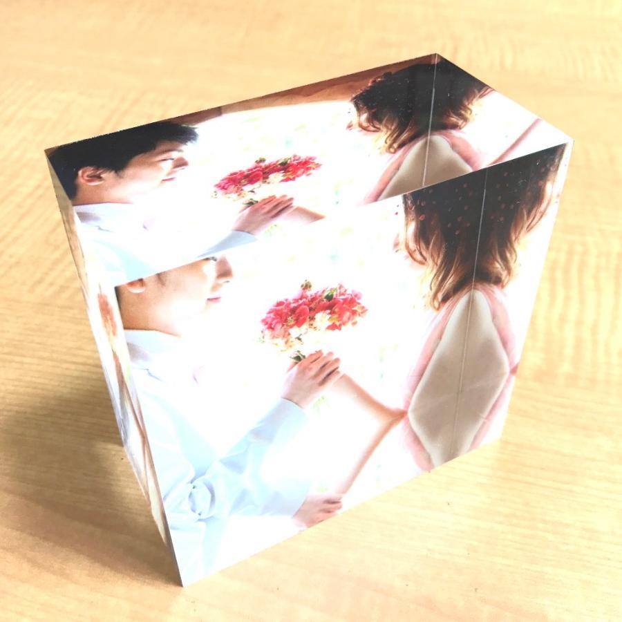 アクリルフォトプリント 10x10x5cm   写真立て 結婚式 カップル プレゼント 写真 プリント ギフト 名入れ アクリル キューブ フォト printplus 02