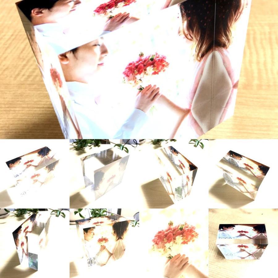 アクリルフォトプリント 10x10x5cm   写真立て 結婚式 カップル プレゼント 写真 プリント ギフト 名入れ アクリル キューブ フォト printplus 12