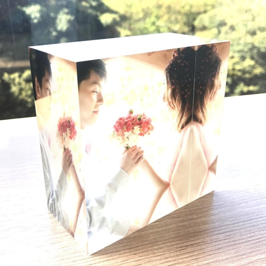 アクリルフォトプリント 10x10x5cm   写真立て 結婚式 カップル プレゼント 写真 プリント ギフト 名入れ アクリル キューブ フォト printplus 05