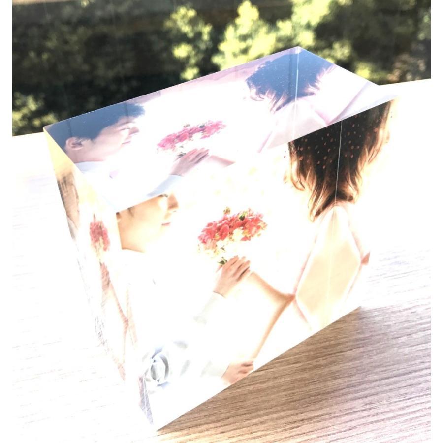 アクリルフォトプリント 10x10x5cm   写真立て 結婚式 カップル プレゼント 写真 プリント ギフト 名入れ アクリル キューブ フォト printplus 06