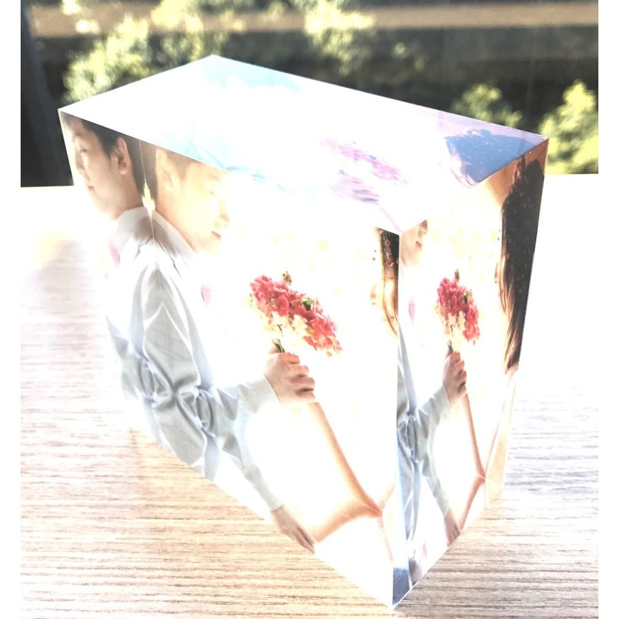 アクリルフォトプリント 10x10x5cm   写真立て 結婚式 カップル プレゼント 写真 プリント ギフト 名入れ アクリル キューブ フォト printplus 08