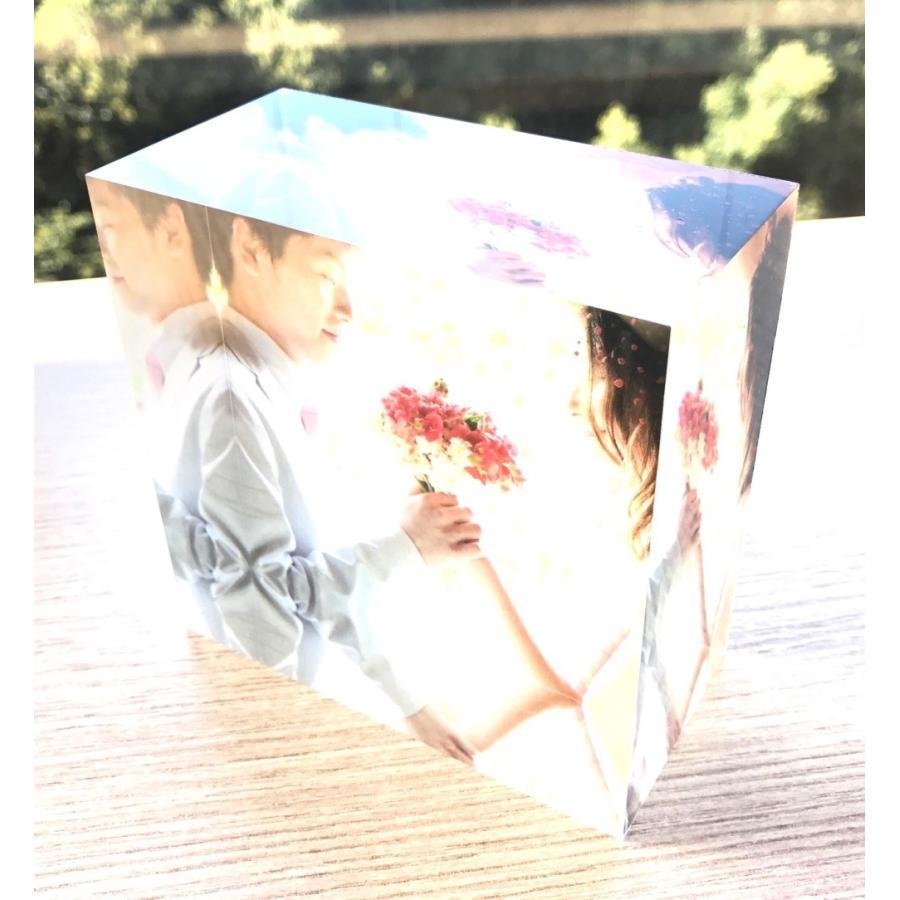 アクリルフォトプリント 10x10x5cm   写真立て 結婚式 カップル プレゼント 写真 プリント ギフト 名入れ アクリル キューブ フォト printplus 09