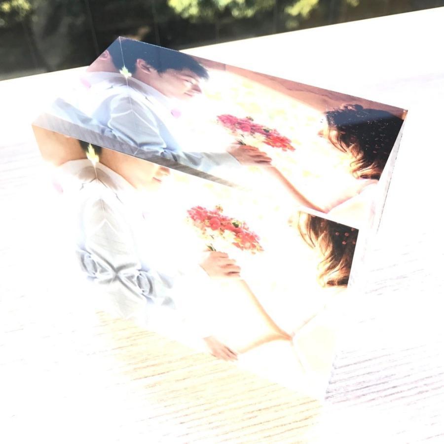 アクリルフォトプリント 10x10x5cm   写真立て 結婚式 カップル プレゼント 写真 プリント ギフト 名入れ アクリル キューブ フォト printplus 10