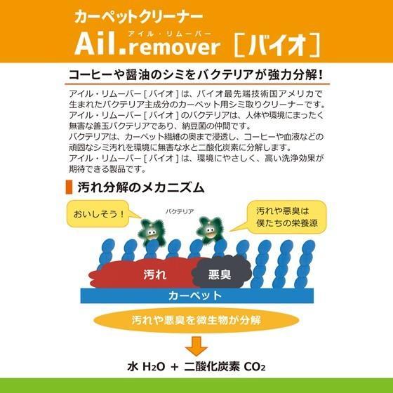 Ail.remover アイル リムーバー「バイオ]」Aセット(200mlスプレー+ブラシ+クロス付き)天然バクテリア主成分 カーペットクリーナー シミ取り剤|propre-racli|02