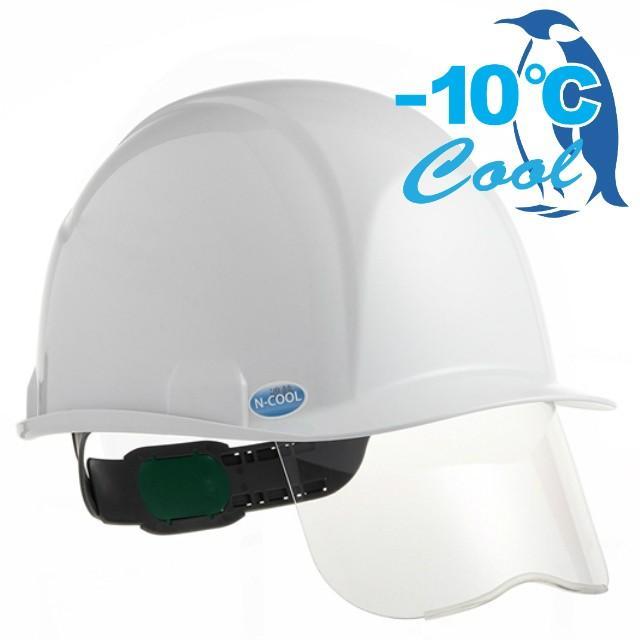 スミハット SAXS-B-NCOOL Nクール 遮熱 練込 シールド面付き 作業用 ヘルメット(通気孔なし/ライナー入り)/ 夏 熱中症対策 工事用 建設 高所用 電気設備工事|proshophamada