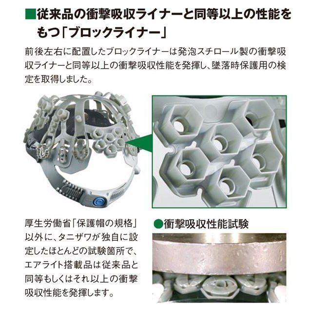 谷沢製作所 タニザワ ST#1610VJ-SH エアライト 涼しい シールド面付 作業用 ヘルメット(通気孔付き/ブロックライナー)/ 工事用 建設用 建築用 現場用 高所用|proshophamada|05