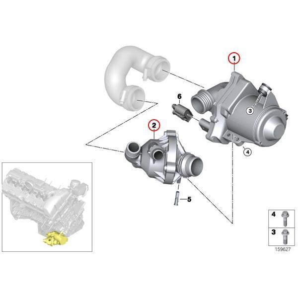 BMW 3シリーズ E92 E93 VDO製 電気式ウォーターポンプ&ボルト&サーモスタット N54 N54T 直6エンジン 11517632426 11537549476 11517602123 335i|protechauto|02