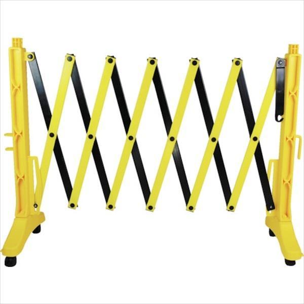 日本緑十字社 伸縮式バリケード 黄/黒 高さ1m×幅0.5〜3.5m 連結可能タイプ(116131)