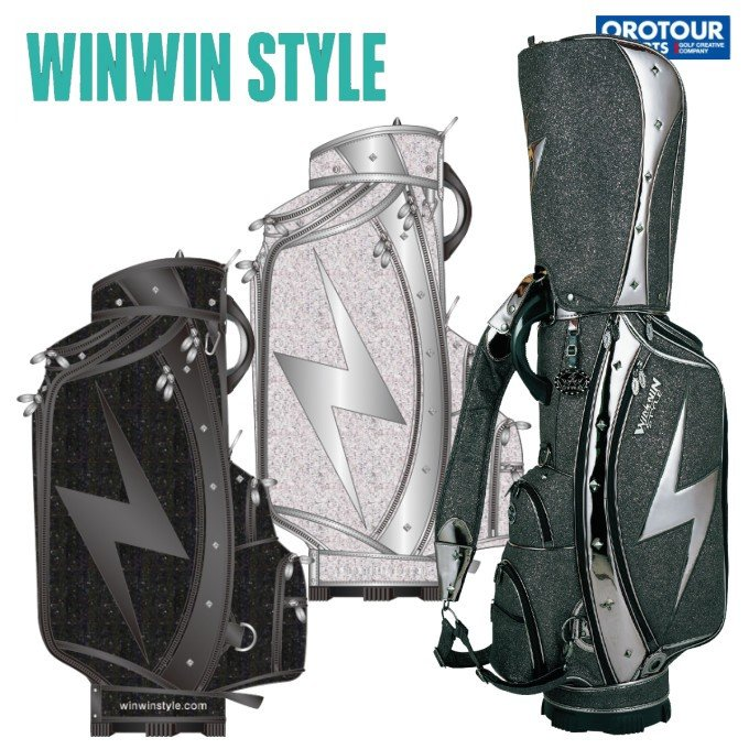 WINWIN STYLE ATHLETEウィンウィンスタイル 稲妻 ガンメタ キャディバッグ CB-358/CB-359/CB-360