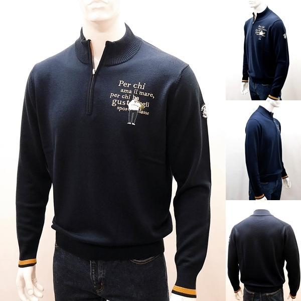 シナコバ [L] セーター ウール メンズ  ゴルフ タウンウェア フロントアイコニック ハイゲージウールニット SINACOVA 21906029  sc KTf m 21222030|proud|02