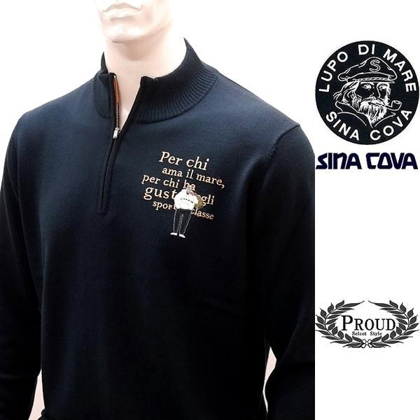 シナコバ [LL] セーター ウール メンズ ゴルフ タウンウェア フロントアイコニック ハイゲージウールニット SINACOVA  21906030 sc KTf m 21222030 proud