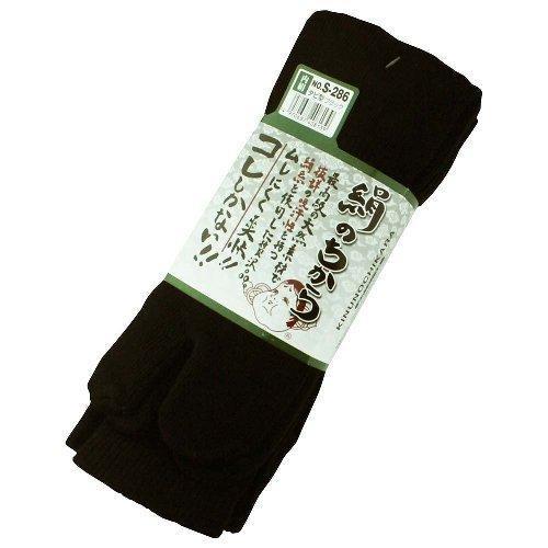 【3足組80組セット】おたふく手袋 ソックス 絹のちから タビ型 S-286 (ブラック) 適合サイズ(cm):25·27 品質:綿·絹·ポリエステル·ポリウレタン