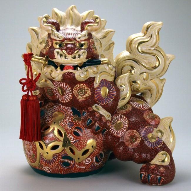 石川県伝統工芸 九谷焼 15号剣獅子 盛