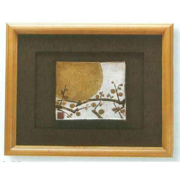 九谷焼 N89-08 陶額 手造り金銀シリーズ 金銀箔梅月 ガラス付 36.3×42.7cm